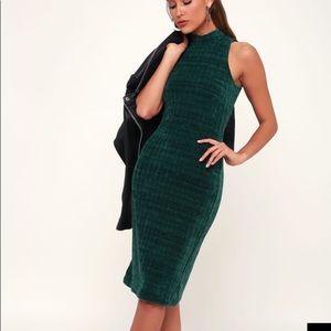 Emerald Green Chenille Mock Neck Sweater dress
